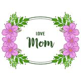 Vector illustration beauty purple wreath frame with lettering i love you mom stock illustration