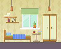 Vector illustration of  bedroom. Flat design vector illustration of room interior with bed, wardrobe, window and lamp. Interior room of teenager boy or girl Royalty Free Stock Photo