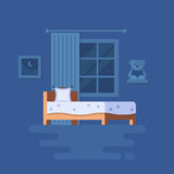 Vector illustration of bedroom interior. Clipart of bed, teddy bear on the shelf, window with the curtain and picture. Trend modern flat pseudo volume style Stock Photography