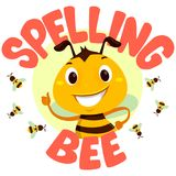 Bees with Spelling Bee word. Vector Illustration of Bee with Spelling Bee word concept for contest stock illustration