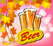 Vector illustration of beer against the backdrop Royalty Free Stock Images