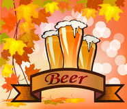 Vector illustration of beer against the backdrop Royalty Free Stock Photo