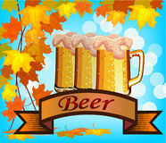 Vector illustration of beer against the backdrop Stock Photography