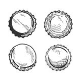 Beer bottle cap or lid. Vector illustration of a beer bottle cap or lid from different angles. Top view, upside down, three quarters Stock Images