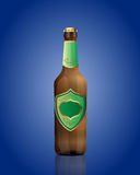Vector illustration of beer bottle with green. Vector beer bottle with green label on the blue background Vector Illustration