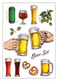 Vector  illustration with   beer  set Royalty Free Stock Photography