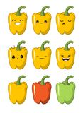 Vector illustration of an Bell pepper Cute cartoon vegetable vector character set isolated on white. Emotions. Stickers. kawaii vector illustration