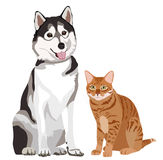 Vector Illustration of best friends. Cat and Dog Stock Image
