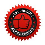 Best product label. Vector illustration of best product label with thumbs up sign. stamp or seal on isolated white background stock illustration
