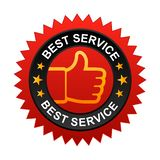 Best service label. Vector illustration of best service label with thumbs up sign. stamp or seal on isolated white background vector illustration