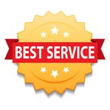 Best service seal. Vector illustration of best service seal golden star on isolated white background royalty free illustration