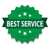 Best service seal. Vector illustration of best service seal green star on isolated white background stock illustration