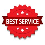 Best service seal. Vector illustration of best service seal red star on isolated white background royalty free illustration