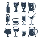 Vector illustration of beverage line icons. Stock Photo