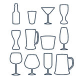 Vector illustration of beverage line icons. Stock Photography