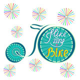 Vector illustration of a Bicycle.I like my bike-the inscription stock photo