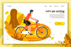 Vector illustration - bicycle riding man in park. Vector illustration - bicycle riding man. Park, forest, trees and hills on background. Banner, site, poster stock illustration