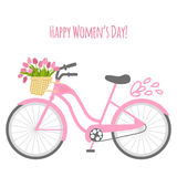 Vector illustration with bicycle and tulips Royalty Free Stock Photos