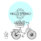 Vector illustration with bicycle and tulips in sketch style Stock Image