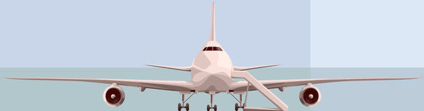 Vector illustration of big airplan in front. Royalty Free Stock Images
