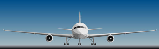 Vector illustration of big airplan in front. Royalty Free Stock Image