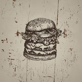 Vector illustration of big burger Royalty Free Stock Photography
