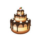Vector illustration of big chocolate cake with cream and strawbe. Rry on white background royalty free illustration