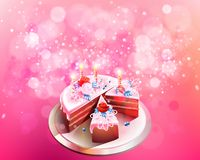 Vector illustration with big chocolate cake Royalty Free Stock Images