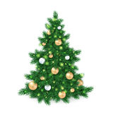 Vector illustration of big christmas tree, decorated white and golden christmas ornaments.  Royalty Free Stock Image