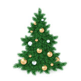 Vector illustration of big christmas tree, decorated white and golden christmas ornaments.  Royalty Free Stock Photography