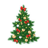 Vector illustration of big christmas tree, decorated white and golden christmas ornaments and red ribbon bows.  Royalty Free Stock Images