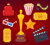 Vector illustration of big cinema objects collection on red back. Ground. Art design for web, site, advertising, banner, poster, flyer, brochure, board, paper Stock Photography