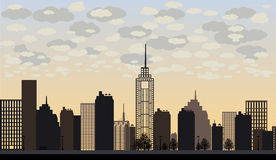 Vector illustration of big city and skyscrapers with clouds Stock Photo
