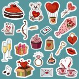Vector illustration of a big collection of stickers for the holi. Day of Saint Valentine. Festive image to the day of all lovers Royalty Free Stock Photography
