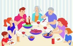 Family eating in flat design. Stock Photography