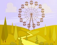 Vector illustration of Big Ferris wheel. In amusement park in flat style Royalty Free Stock Image