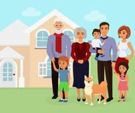 Vector illustration of big happy caucasian family with many children, mother, father with grandmother and grandfather vector illustration