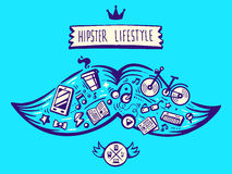 Vector illustration big mustache of hipster life style with diff Royalty Free Stock Photo