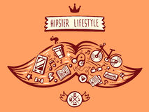Vector illustration big mustache of hipster life style with diff Stock Image