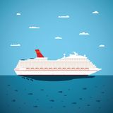 Vector illustration of big sea cruise liner in modern flat style Stock Photo