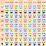 Vector illustration. big set cute doodle monster mouth and eyes. Royalty Free Stock Photography