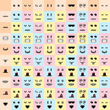 Vector illustration. big set cute doodle monster mouth and eyes. Stock Images