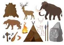 Vector illustration of big set of elements of stone age attributes. Primitive ice age elements. Stone age. Hunting tools royalty free illustration