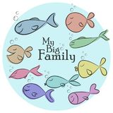 Vector Illustration with big set of funny fishes and My Big Fami. Ly phrase on blue background. Perfect for card, poster, label, t-shirt printing, and other Royalty Free Stock Photography
