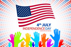 Vector illustration of big and small hands on USA flag background Stock Image