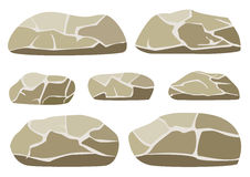 Vector illustration of the big and small rocks on a white background Stock Photo