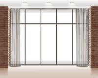Window in room. Vector illustration of big window inside empty loft room with bricks wall stock illustration