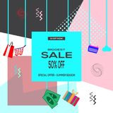 Biggest sale 50% off - special offer - summer season - shop now. Vector Illustration. Biggest sale 50% off - special offer - summer season - shop now stock illustration