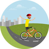 Vector illustration of biker riding bicycle Stock Image