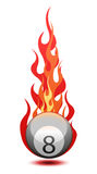 Vector illustration of a billiard ball in fire. Vector illustration of a �Eight� billiard ball in fire Royalty Free Stock Photography